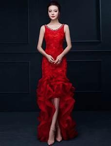 efektowne syrenka czerwone dlugie suknie wieczorowe kwiat With robe rouge glamour