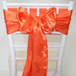 orange satin sash chair cover bow for wedding and special