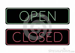 Open And Closed Door Neon Sign Stock Vector Image