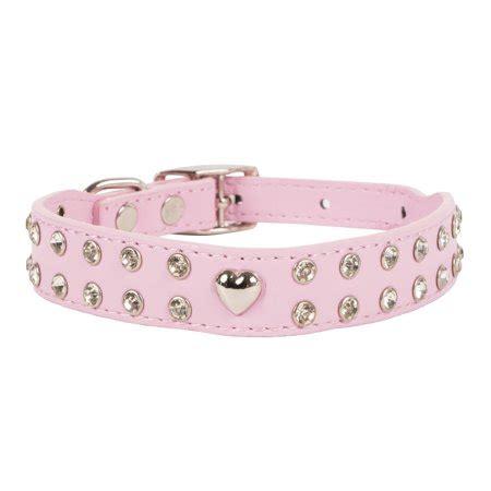 vibrant life rhinestone leather fashion dog collar pink