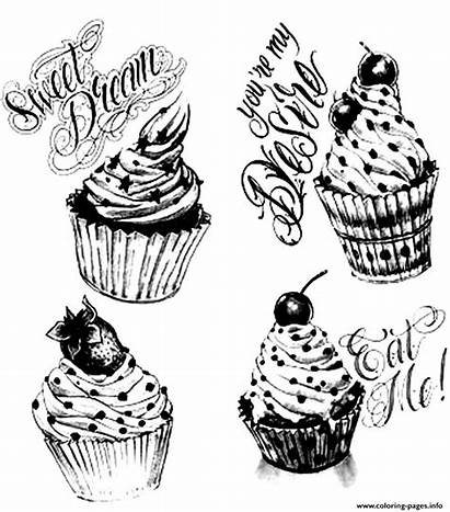 Coloring Pages Cupcakes Adult Cup Cakes Adults