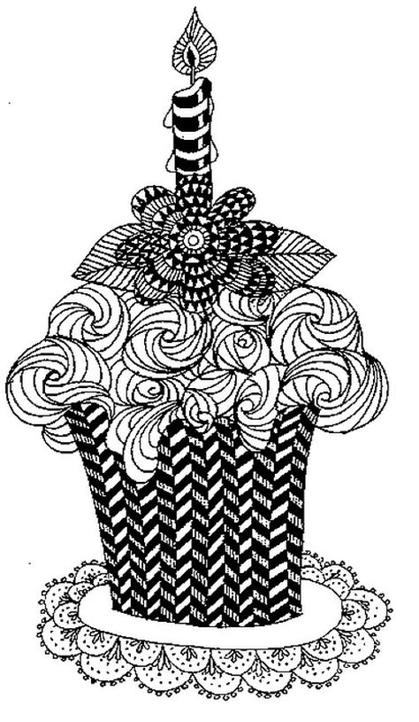 Art Therapy coloring page happy birthday : Cake and candle 4