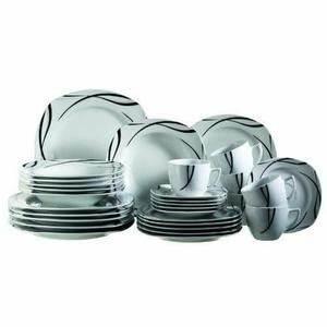 Service Vaisselle Complet Pas Cher : service de table noir et blanc pas cher ~ Teatrodelosmanantiales.com Idées de Décoration
