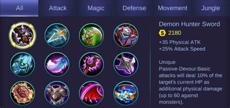 mobile legends items