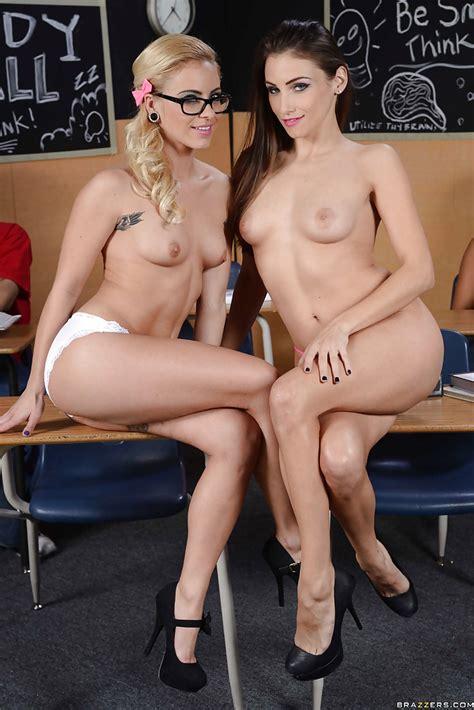 Hot schoolgirls Celeste Star & Cameron Canada flirting in the classroom - PornPics.com