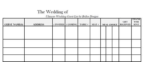 downloadable wedding guest rsvp list wedding