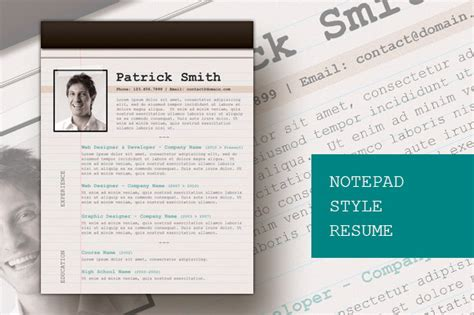 notepad style resume resume templates on creative market