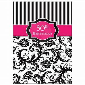 30th Birthday Invitation Hot Pink, Black, White Stripes