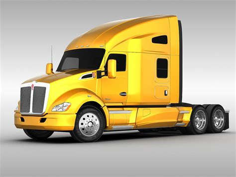 kenworth t680 2010 truck trailer 3d model