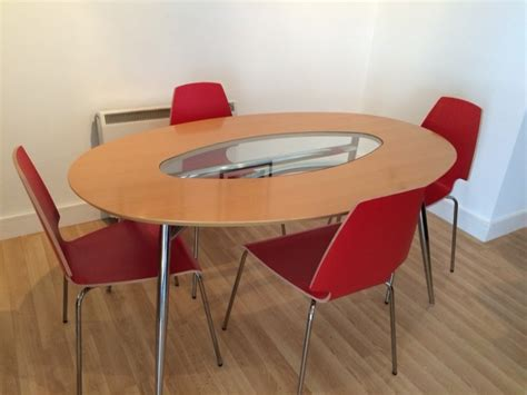 Oval Beech Kitchendining Table Ikea Vilmar Red Chairs For