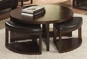 round coffee table w 4 nesting ottomans in wood leather With coffee table with nested ottomans