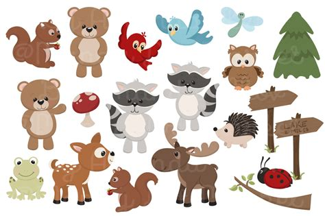 Adorable, Free Woodland Animals Clipart And Digital Papers