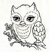 Owl Coloring Pages Drawings Outline Easy Simple Owls Tattoo Animal Drawing Body Digital sketch template