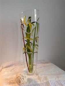 Grand Vase En Verre : grand vase de d coration en verre peint motif tiges de bambous ~ Teatrodelosmanantiales.com Idées de Décoration