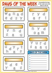 days of the week esl printable worksheets and exercises