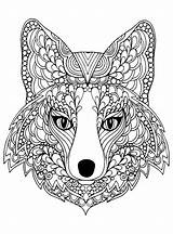 Coloring Wolf Pages Printable Adults sketch template