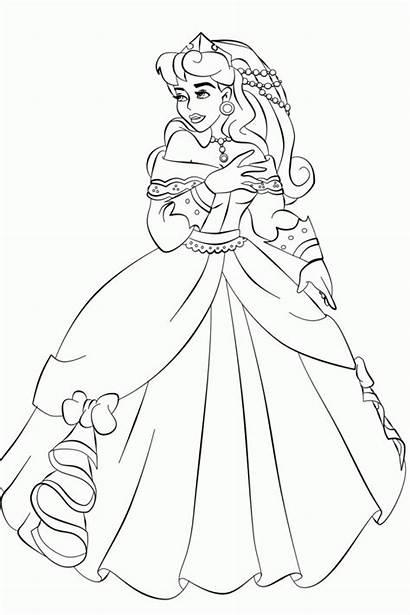 Coloring Gambar Aurora Mewarnai Princess Barbie Sketsa