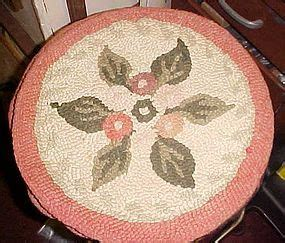 vintage hooked chair pads antique wool latch hooked rug circular chair pad