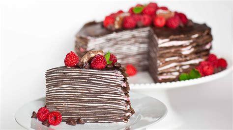 chocolate raspberry crepe cake youtube