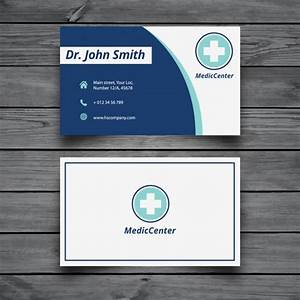 Modern medical business card template vector free download for Medical business cards templates free