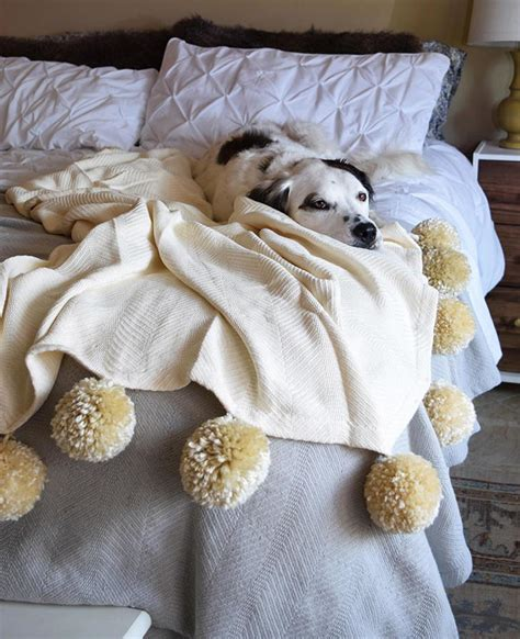 fuzzy diy pom pom blanket favecraftscom