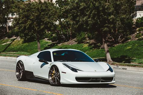 white ferrari  spyder adv mv cs adv wheels