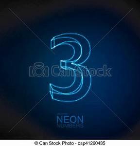3 neon zahl 3d Ziffer alphabet neon zahl