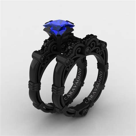 art masters caravaggio 14k black gold 1 25 ct princess blue sapphire black diamond engagement