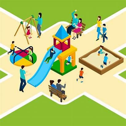 Playground Vector Isometric Children Illustration Freepik Related