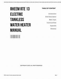 Rheem Rte 13 Electric Tankless Water Heater Manual By