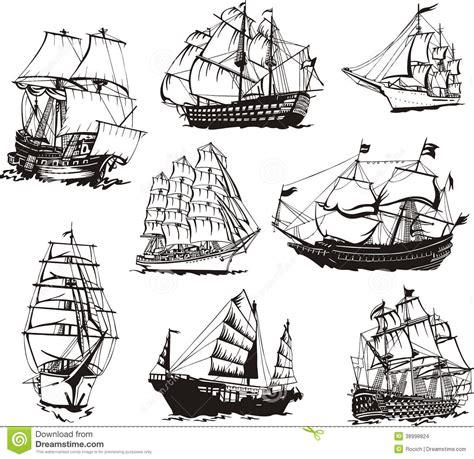 Sketches Of Sailing Ships Stock Vector Image 38998824
