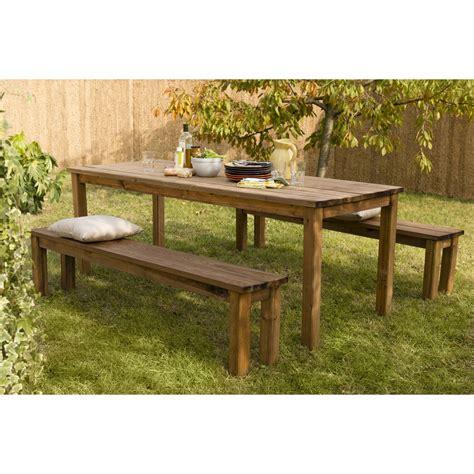 table de jardin en bois salon de jardin sapin bois marron 8 personnes leroy merlin