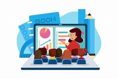 Classes Students Illustration Attending Vector Format