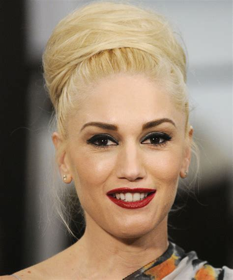 gwen stefani formal long straight updo hairstyle light