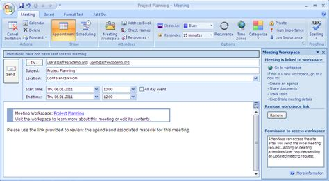 Outlook Meeting Minutes Template by Create A Meeting Workspace Alfresco Documentation
