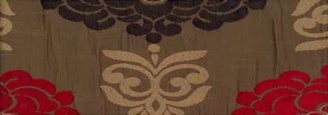 dark brown shimmering gold red patterned damask curtains