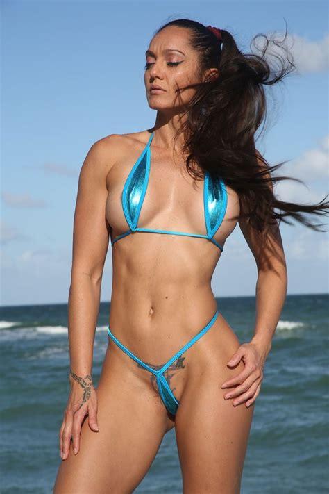 sassy turquoise metallic extreme teardrop  string bikini