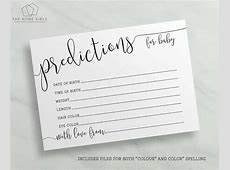 Baby Shower Prediction Cards Baby Shower Games