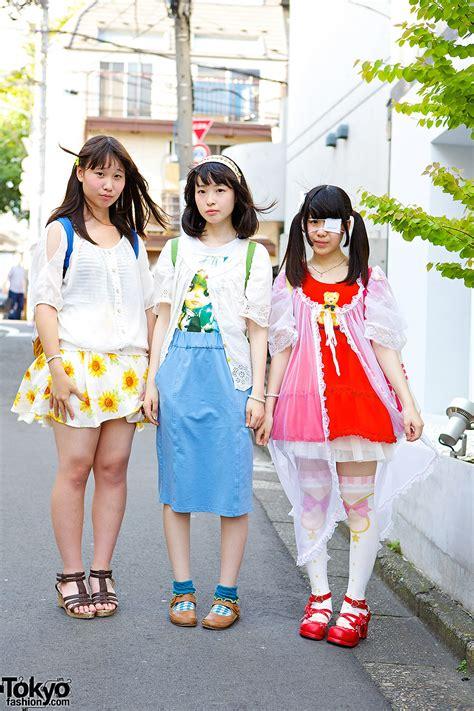 Harajuku Idol Girls w/ Plush Backpacks Blythe Teddy Bear Print Swimmer u0026 6%DOKIDOKI