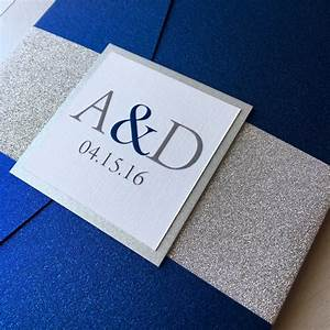 Silver Glitter and Cobalt Blue Wedding Invitations Blue and