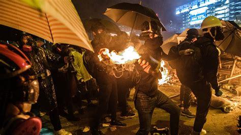hong kong violence escalates  police  protesters clash  university   york times