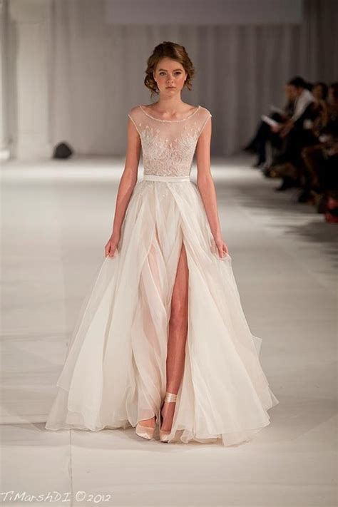 Illusion Neckline Wedding Dresses   Belle & Chic
