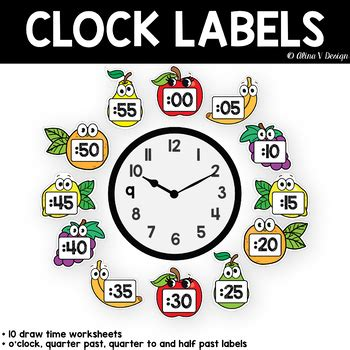telling time clock posters telling time clock labels
