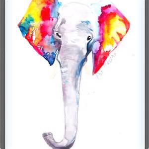 Rainbow Watercolor Elephant