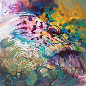 Brown Trout And Mayfly - Abstract Fly Fishing Art Painting ...
