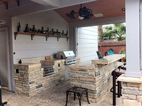rustic outdoor kitchen spaces  built  grill