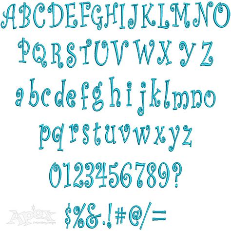 curlz large embroidery font