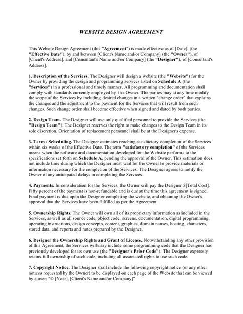 website development contract template  printable