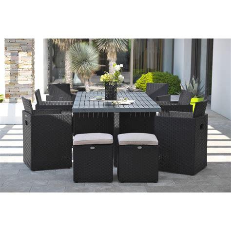 table de jardin en resine tressee