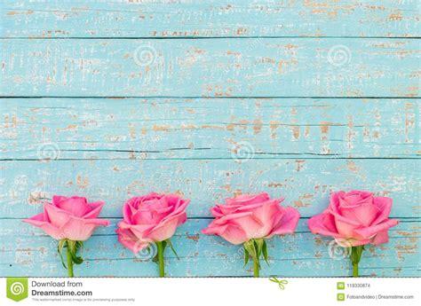Pink Rose Flowers Border Decoration On Light Blue Vintage
